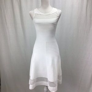 French Connection Illusion Fit Flare Dress White 4